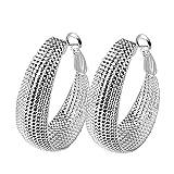 Kangqifen Schmuck Damen Ohrringe,2 PCS 925 Silber Plattiert Ohrstecker Ohrschmuck,Breite 3,2 cm - Länge 4,2 cm