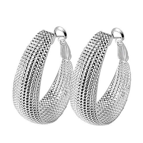 Kangqifen Schmuck Damen Ohrringe,2 PCS 925 Silber Plattiert Ohrstecker Ohrschmuck,Breite 3,2 cm - Länge 4,2 (Modeschmuck Ohrringe Chanel Cc)