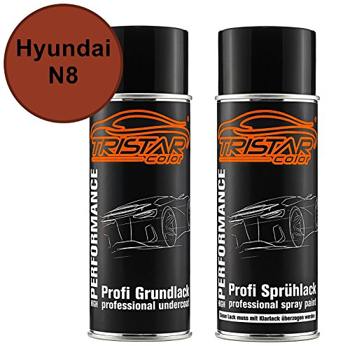 Preisvergleich Produktbild Autolack Spraydosen Set Hyundai N8 Sunset Orange Perl / Tango Red Perl Grundlack Basislack Sprühdose 400ml