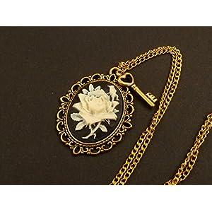 Kamee Halskette mit Rose in schwarz gold