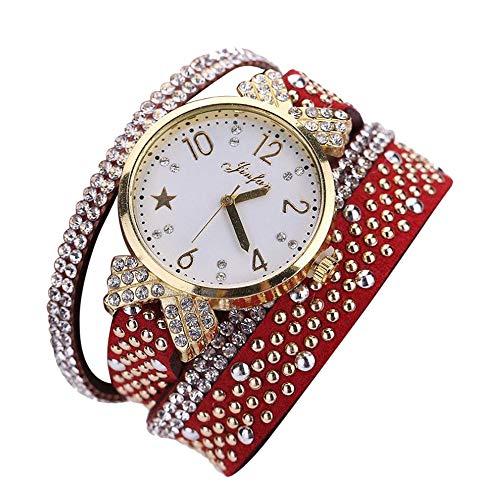 VECOLE Uhren Damen Simple Casual Arabische Ziffern kleines Zifferblatt Strass Inlay Armbanduhr Fashion Armbanduhr Quarz Analoganzeige Uhr(rot) - Ebel Damen Uhren Diamanten