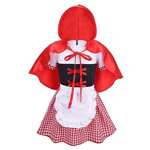 fasching rotkaeppchen Tiaobug Baby Kostüm Mädchen Halloween Rotkäppchen Kleid Kleinkind Märchen Kostüme zu Karneval Fasching 74 80 86 92 Rot&Weiß 86-92