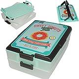 Transportbox - 2 Etagen mit Transporthaube - ' Sweet Donuts - türkis ' - Kunststoff / Plastik - Partycontainer - Behälter - Picknickbox - Party - Kuchenkiste / Kuchenbox - Partybutler - Transportboxen - Aufbewahrungskiste - Reisebox / Campingbox - Utensilo - Deko / Shabby Chic - Box Kiste - Aufbewahrungsbox - Retro - Vintage - Kuchenbutler - Haube - Picknickkorb - Sandwich Kuchen - Grillbox - Süßigkeiten / Essen - Kuchenbehälter - Transportkiste - Reisekiste - Speisen