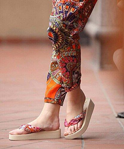 Minetom Donne Fiore Infradito Con i Sandali Da Spiaggia e Ciabatte Accessorio Vacanze Scarpe Outdoor EUROPE Taglia Beige