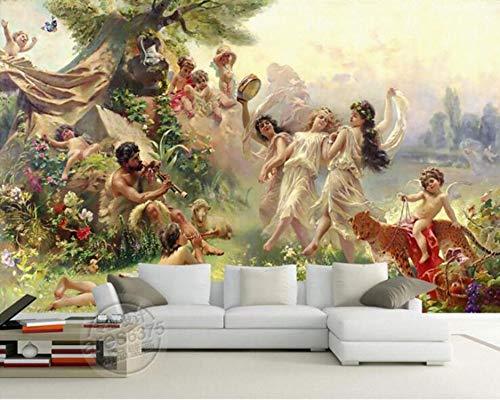 L22LW Wandbild Klassischen Gemälden Wallpaper Angel Paradise Party Tanz Wandbild Wand Stoff, 400 Cm * 280 Cm (H)