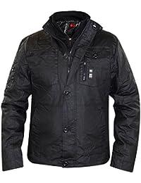 New Mens Crosshatch Wax Coated Quilted Lined Winter Jacket Double Zip Coat