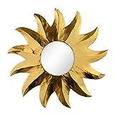 Deko Wandspiegel Sonne aus Albesia Holz gold, Ø 40cm, Wanddeko Dekospiegel Spiegel Sonnenspiegel Solarplexus handgefertigt