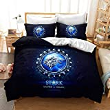DFTY Set Biancheria da Letto - Copripiumino e 1/2 Federa in Microfibra, 3D Digital Print Set di 3 Pezzi, Games of Thrones, 13, 140 x 210 cm