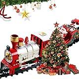 Set di treni di Natale classici, set di treni deluxe con luci e suoni Binari ferroviari da 260 cm per sotto l'albero di Natale Giocattoli elettronici Giocattoli a batteria Regalo per bambini