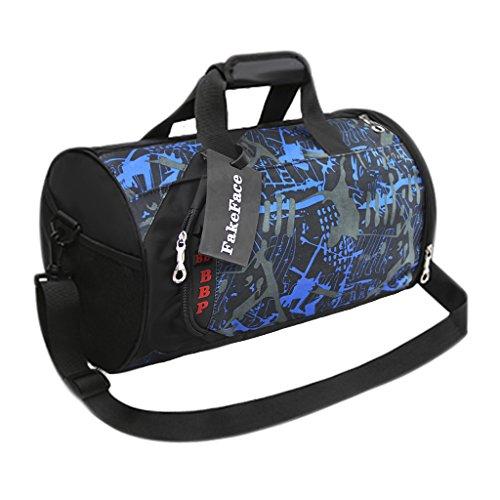 FakeFace Sporttasche Barrel Bag Training Bag Gym Fitness Tasche Fahrradtasche Reisetasche Umhängetasche Gepäcktasche 41 x 26 x 26 CM Blau