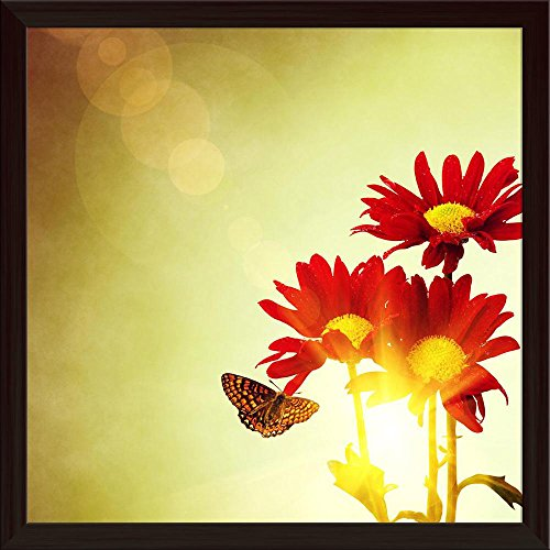 Pitaara Box Red Flowers & Butterfly Under Bright Sunny Sky Canvas Painting Dark Brown Frame 24 X 24Inch -