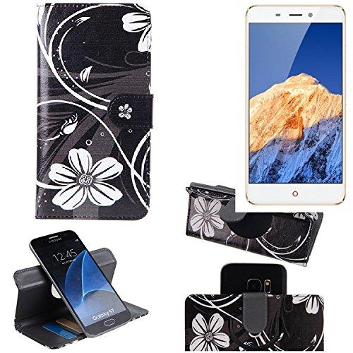 K-S-Trade Schutzhülle für Nubia N1 Hülle 360° Wallet Case Schutz Hülle ''Flowers'' Smartphone Flip Cover Flipstyle Tasche Handyhülle schwarz-weiß 1x