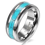 JewelryWe Schmuck Wolframcarbid Herren-Ring Synthetische Türkis Inlay 8mm Bandring Eheringe Verlobungsringe Größe 58
