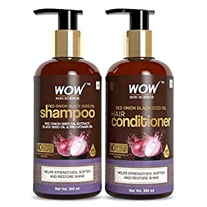 WOW Skin Science Red Onion Black Seed Oil Shampoo & Conditioner Kit with Red Onion Seed Oil Extract, Black Seed Oil & Pro-Vitamin B5 (Shampoo + Conditioner)