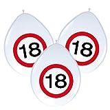 8 Luftballons * 18. GEBURTSTAG * mit Verkehrsschild-Design // Set Balloons Ballon Decoration Deko Jubiläum Achtzehn Jahre