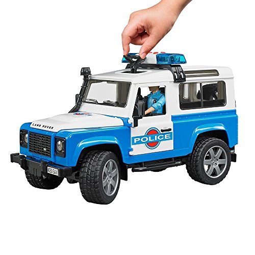 Image of Bruder Land Rover Defender Station Wagon Police Vehicle with Policeman and Accessories