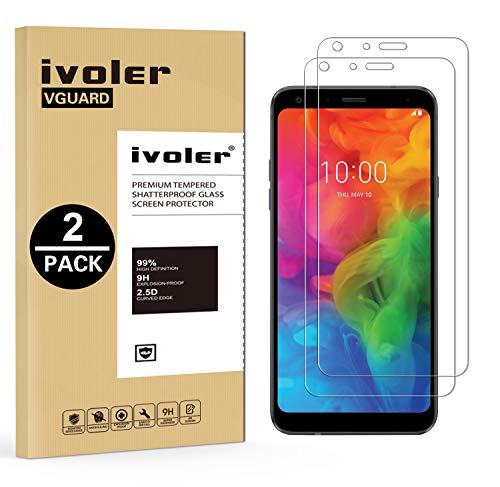 iVoler [2 Stücke] Panzerglas Schutzfolie für LG Q7 / LG Q7+ / LG Q7 Plus [9H Härte] [Anti- Kratzer] [Bläschenfrei] [2.5D R&e Kante]