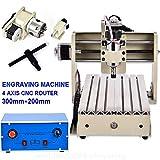 XINTONGRULE 4 Achsen 3020 CNC Graveur Fräsmaschine, Fräser, Portalfräsmaschine, Graviermaschine Graveur, Arbeitsbereich: 200 (X) mm x 300 (H) mm x 45 (Z) mm