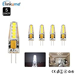 Elinkume 5pcs G4 3w Led Bulbs Replacement Of 20w Halogen, 250lm Acdc 12v Cool White 6500k G4 Led Light Bulbs