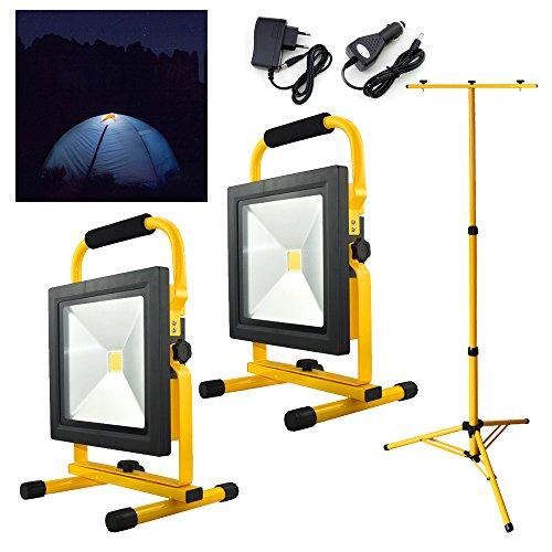Hengda® 2x50W Gelb Kaltweiß LED AKKU Strahler Fluter Campinglampe Nachtfischen nächtliche Notreparaturen bei KFZ Werkstatt Baustrahler Handlampen mit Stativ