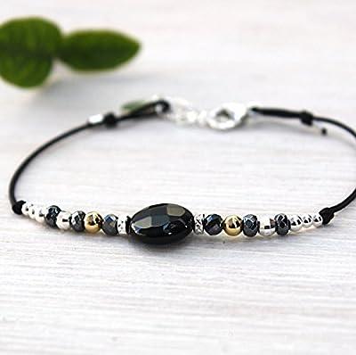 bracelet cordon pierre de gemmes agate noire et perles argent 925