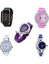 Maan International Gift Set Stylish Combo-5 Multicolor Analogue Women Watchs