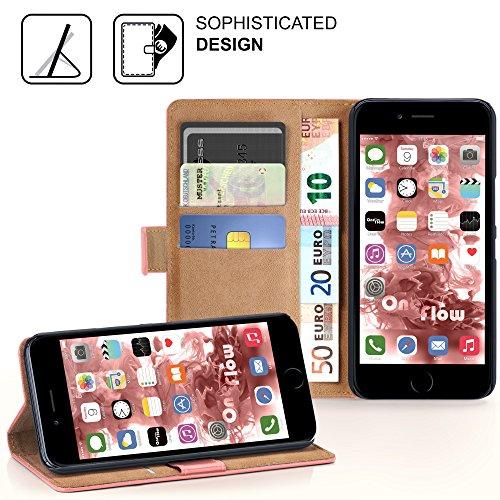 iPhone 6S Hülle Dunkel-Grau mit Karten-Fach [OneFlow 360° Book Klapp-Hülle] Handytasche Kunst-Leder Handyhülle für iPhone 6/6S Case Flip Cover Schutzhülle Tasche CORAL-ROSE