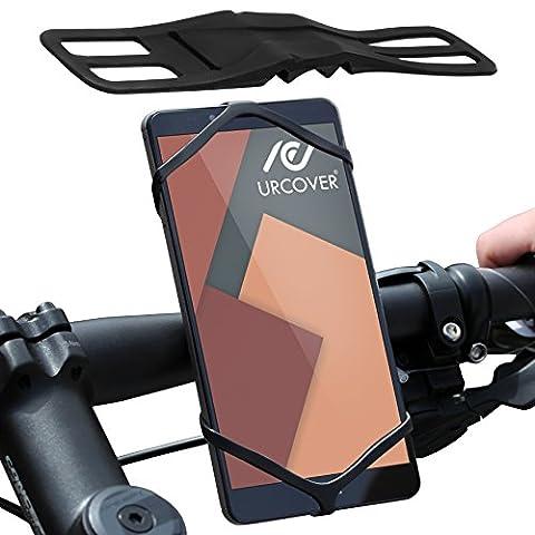 URCOVER® Support Téléphone Vélo ou Moto du Guidon Universel | iPhone Galaxy Huawei HTC et d'autres | TPU Noir | Accessoires Portables Smartphone Bicyclette VTT Navigation GPS