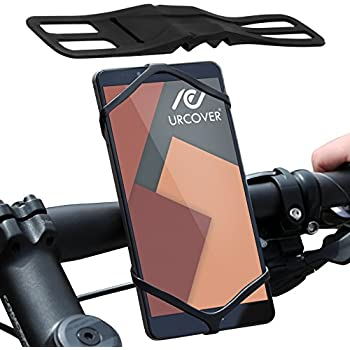 Urcover® universal Handy Fahrrad-Halterung Schwarz | Mountain Bike Motorrad Lenker Smartphone Halter | für iPhone 8 / 8 Plus / 7 / 7 Plus / 6 / 6S - Samsung Galaxy S7 Edge / S6 / S5 uvm.