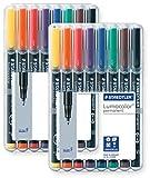 Staedtler 318 WP8 Lumocolor Universalstift F-Spitze, circa 0.6 mm, permanent, 8 Stück in aufstellbarer Staedtler Box (8-fach sortiert | 2 Boxen, F-Spitze | permanent)