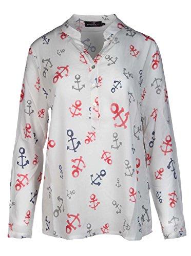 Zwillingsherz Bluse mit Anker Muster - Hochwertiges Oberteil für Damen Mädchen - Langarmshirt Top - T-Shirt - Pullover - Sweatshirt - Hemd für Sommer Herbst und Winter von Cashmere Dreams