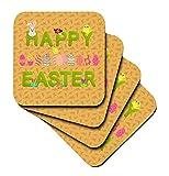 Beverly Turner Ostern Design und Fotografie–Happy Ostern Gras Worte, Hasen, Eier, Küken Blumen, Pfirsich–Untersetzer, Gummi, Orange, set-of-8-Soft