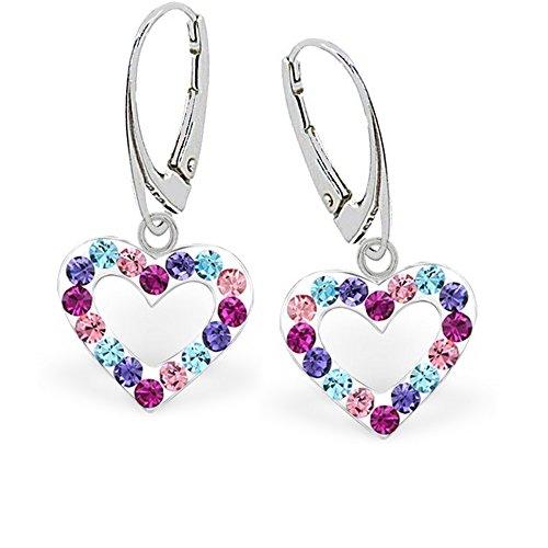 GH1a Multicolor Kristall Herz Brisur Ohrringe 925 Echt Silber Mädchen Damen Ohrhänger z032