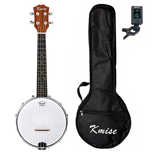 Kmise Banjo Ukulele 4 Saiten Konzert Banjos Klassischer Stil Professionell Musikinstrument mit Tasche Tuner