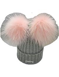 BrillaBenny Cappello Pelliccia Doppio PON PON Rosa Pink e Grigio Grey  (Ragazza 3bb1ed1567cc