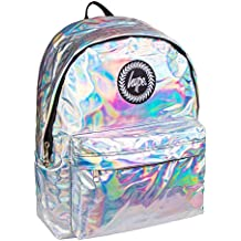 c09f5241b0322 Holographic Backpack Silver Grey Schoolbag BTS17023 Hype bags