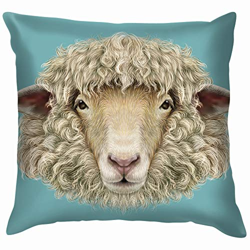 vintage cap Sheep Portrait Illustrated Ram Animals Wildlife Nature Throw Pillows Covers Accent Home Sofa Cushion Cover Pillowcase Gift Decorative 18X18 Inch Wool Field Coat