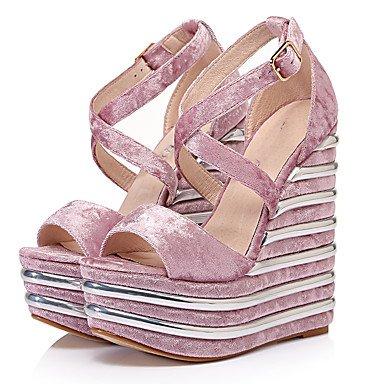 LvYuan Da donna-Sandali-Formale Casual Serata e festa-Altro-Zeppa-Velluto-Nero Viola Rosa chiaro Grigio scuro light pink