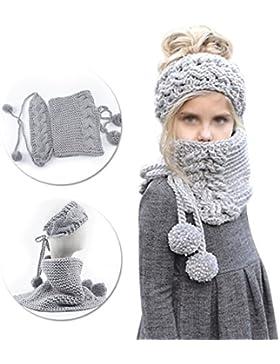 Gorro-bufanda de invierno bebé, Vandot Punto de Lana Diadema Sombreros Bufandas, cálido calentador de cuello diseño...