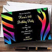 Tappeto colorato Zebra stampa personalizzata, inviti per feste/invita & buste, 40 Invites & Envelopes