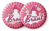 Junggesellinnenabschied & Junggesellenabschied Frauen (JGA) 12er Set Buttons als Accessoires - 1 Button Braut und 11 Buttons Team Braut - Anstecker für die Bachelorette Party und Hen Party