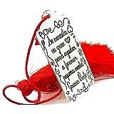 Minoplata Marcapáginas en Plata con pompón Grabado con Mensaje para Maestros Se Necesita un Gran corazón para Ayudar a Formar pequeñas Mentes, Gracias Profe Fin de Curso