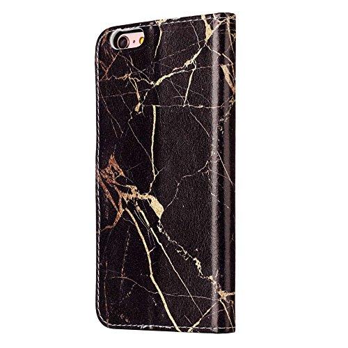 "MOONCASE iPhone 6 Plus/iPhone 6s Plus Hülle, [Colorful Pattern] Stoßfest Ganzkörper Schutzhülle mit Ständer Leder Handytasche Case für iPhone 6s Plus 5.5"" White Black"