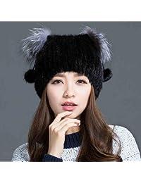 LJY hat TDD7TDD Sombrero niña es un Sombrero de Punto de Invierno Sombreros de Orejeras Gorra de Montar al Aire Libre (Color : Negro)
