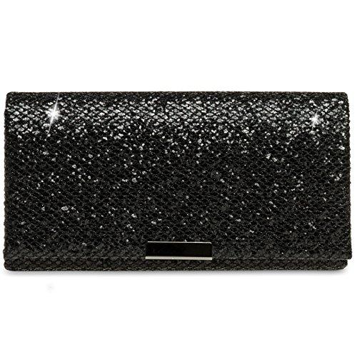 CASPAR TA342 Damen kleine elegante Glitzer Clutch Tasche Abendtasche, Farbe:schwarz;Größe:One Size (Clutch)