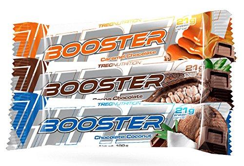 Trec Nutrition Booster Bar Mit 21g Proteinen Pro Riegel Kohlenhydrate Nahrungsergänzungsmittel Bodybuilding 15x100g (Cacao Chocolate-Kakao Schokolade) - Whey Protein Booster Schokolade