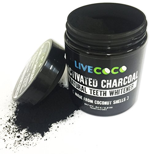 LiveCoco Activated Charcoal for Teeth Whitening, Natural Teeth Whitening using Coconut Shells, RAW & Food Grade with No Artificial Flavours, 100% Natural, Large Tub, 80g=300 Uses Test
