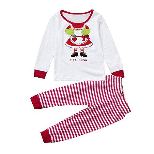 JYJM2Pcs Baby Mädchen Jungen Santa Tops + Pants Pyjamas Weihnachten Outfits Set Kleidung (Größe: 4 Jahr, Weiß) (Naughty Santa-outfits)