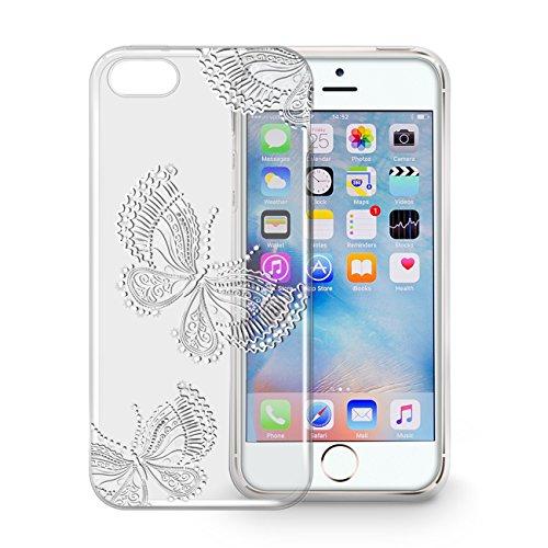Orzly® - Orzly Art Case für das iPhone SE – Schmetterling Funkel-Glanz Hülle/ Schutzhülle / Tasche/ Case/ Cover –kompatibel mit iPhone 5/5S und dem neuen iPhone SE Butterfly for iPhone SE