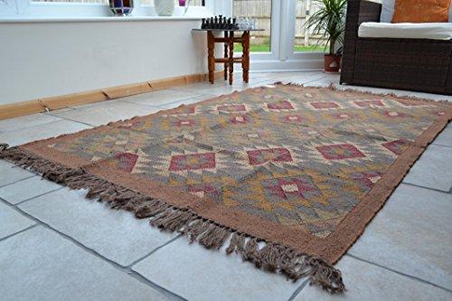 Große Kelim Teppich Diamant Harlequin 180cm x 240cm Handgewebt traditionellen Persischen Stil Wolle Baumwolle Jute